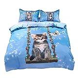 Beddinginn Cute Cat Swing Bedding Set Kids Loves 3D Duvet Cover Set Butterfly Print Girls Bed Set Full