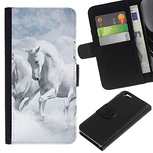 MobileMart / Apple Iphone 6 4.7 / white horses sky nature clouds god / Cuir PU Portefeuille Coverture Shell Armure Coque Coq Cas Etui Housse Case Cover Wallet Credit Card