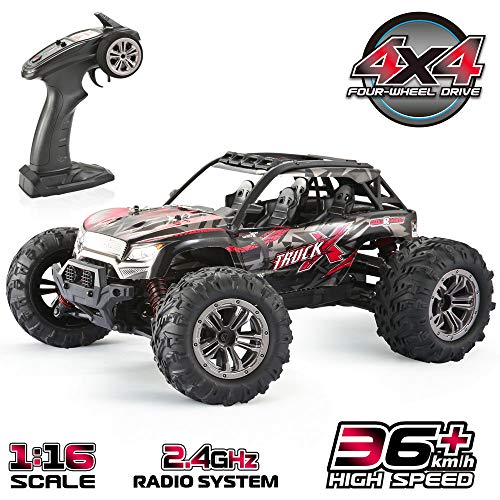 Remote Control Car 4WD, 1:16 RC Cars, 2.4Ghz 36km/h High Speed Off-Road Vehicle, Monster Trucks Gift for Adults & Boys