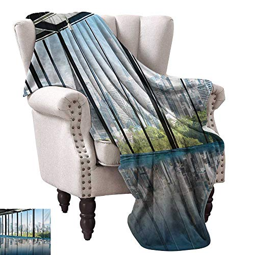 (WinfreyDecor Modern Decorative Throw Blanket Metropolitan Cityscape of New York USA in Central Park Forest Photograph Anti-Static Throw 60