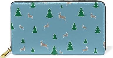 Christmas Tree Black Real Leather Zip Around Wallet Wristlet minimalist wallet Travel Purse Wristlet