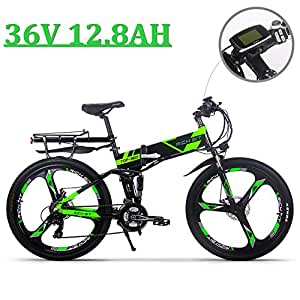 eBike_RICHBIT 860 Hombres Bicicleta eléctrica de montaña Plegable 17 X 26 Pulgadas 250 W 36V 12.8AH ebike, Verde