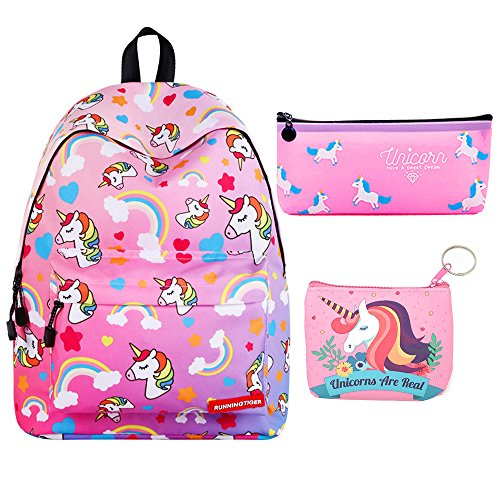 (Kids Rainbow Unicorn Backpack with Pencil Pouch Back to School Back Pack Set for Little Girls Age 5-12 Years Old (Hot Pink Unicorn))