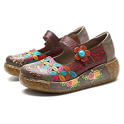 Socofy Dames Muilezels, Sandalen Misstap-ons Zomer Lederen Slippers Pantoffel Klompen Vintage High-top Bloem Espadrilles Schoenen Loafer Slippers Bruin