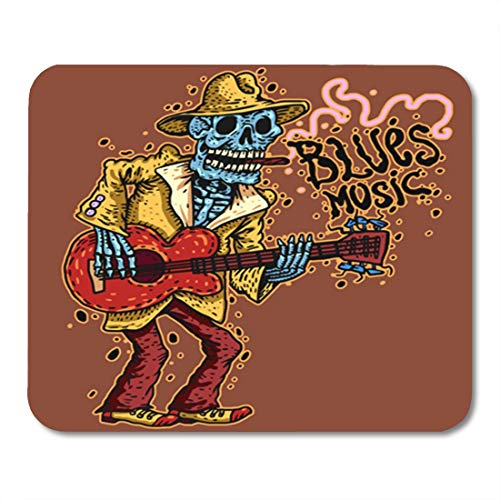 Semtomn Gaming Mouse Pad Red Guitarist Funny Skeleton Playing Guitar Blues Music Mexico Ballad Musician Color 9.5