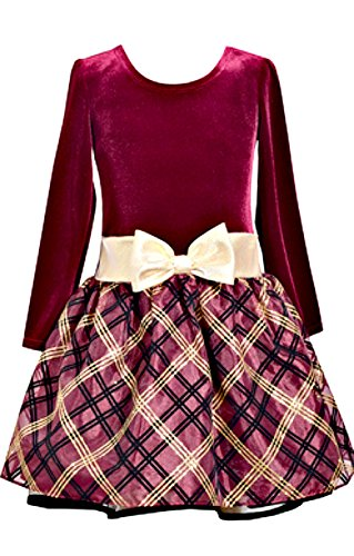 Bonnie Jean Girls Cute Burgundy Velvet Drop Waist Dress (8)