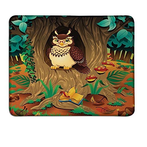 Owl patterned mouse pad Old Wise Nanny Grandma Owl in the Chestnut Tree Hallow Looking Through Sage Character Printcustomized mouse pad Multi ()