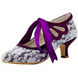 ElegantPark HC1521 Women's Mary Jane Cut Out Closed Toe Low Heel Pumps Lace Wedding Dress Shoes Purple US 8