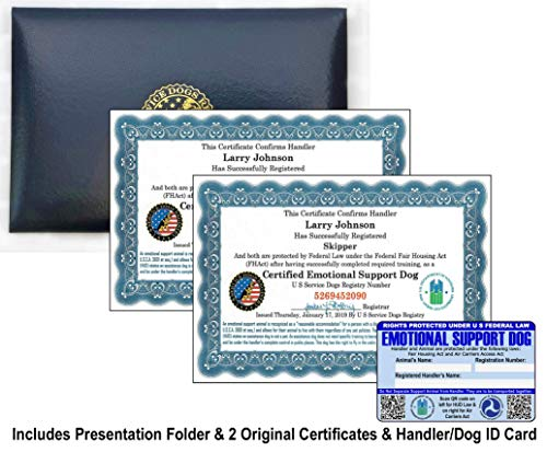 Official Set of 2 Emotional Support Dog Certificates in Leather Presentation Folder - Fully Customized with Registration to U S Service Dogs Registry