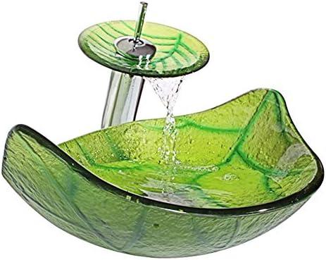 浴室用の芸術的な容器の流し、現代の強化ガラス容器の流域、カウンターの上の洗面器の浴室の虚栄心の流域ボウル(緑),B
