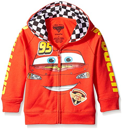 Disney Little Boys' Cars Lightning Mcqueen Hoodie, Red, M-5/6