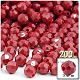 The Crafts Outlet 100-Piece Faceted Plastic Opaque Round Beads, 10mm, Red