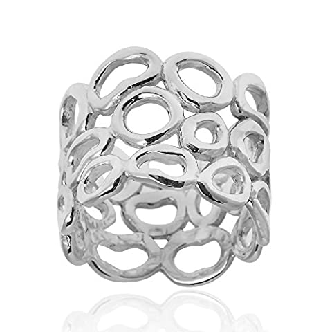 Trendy 15 mm Wide Band Pebble Outline .925 Sterling Silver Ring (8) (Pebble Band Ring)