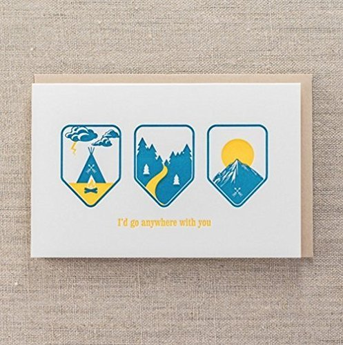 anywhere with you adventurous love letterpress greeting card - Letterpress Greeting Cards