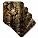 3dRose Steampunk in noble design, clocks and gears - Ceramic Tile Coasters, set of 4 (cst_251909_3)