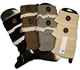 Blue 55 Cute Cozy Fingerless Thumbhole Knit Lace Hand Warmer Glove Mittens and boot cuffs Legwarmers 4pk: Lace Ivory Taupe Grey Black Lace Boot Cuffs One Size Item