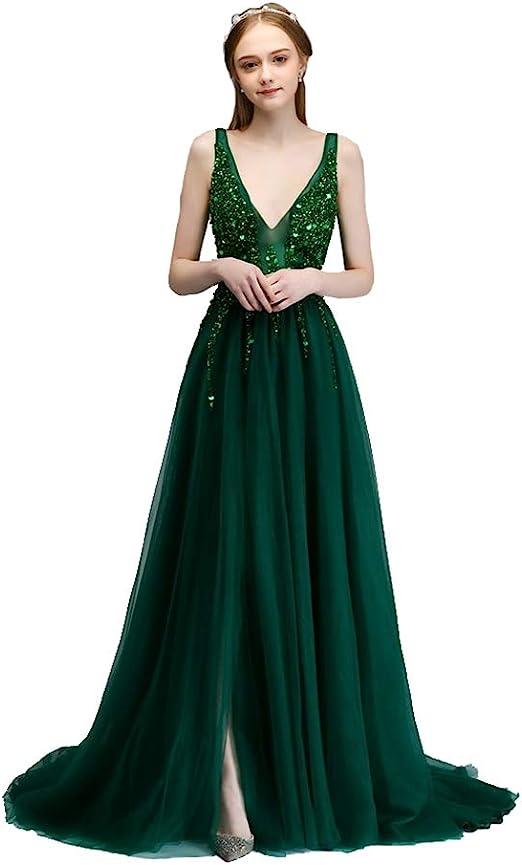 Vestido de novia Elegante con Cuello en V Vestido de Noche con ...