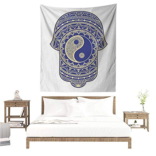 Agoza Hamsa Tapestry Artistic Symbol in Japanese Style with Ying Yang Sign Spiritual Mysticism Zen Tapestry for Home Decor 60W x 80L INCH Royal Blue ()