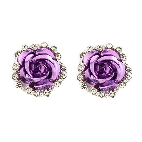 Sterling Silver Plated Cubic Zirconia Shining Purple Coral Carved Rose Flower Womens Stud Earrings (Rose Flower Carved Coral)