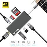 USB C Hub, IVYOCK USB-C Adapter with Type C Charging Port, 4K HDMI Output, SD / Micro SD Card Reader, 3 USB 3.0 Ports for MacBook,Pixelbook,HP Spectre and more Type-C Devices - Space Gray