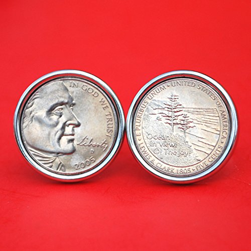 - A Pair of US 2005 Jefferson Nickel 5 Cent BU Uncirculated Coin Silver Plated Cufflinks NEW - Ocean in view! O! The joy! - Obverse and Reverse