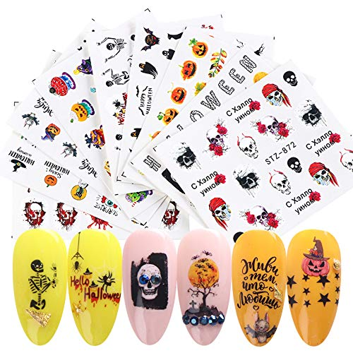Cool Halloween Manicures (Halloween Nail Decals Stickers Autumn Fall Nail Art Accessories Scars Ghost Witch Web Spider Maple Leaves Design 24 Sheets Water Transfer Decals Self-Adhesive Stickers for DIY Fingernails)