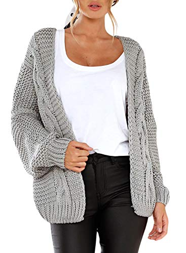 Dokotoo Womens Oversized Fashion Winter Fall Thin Cozy Open Front Long Sleeve Chunky Knitting Ribbed Cardigan Sweater Coat Outerwear Grey Medium