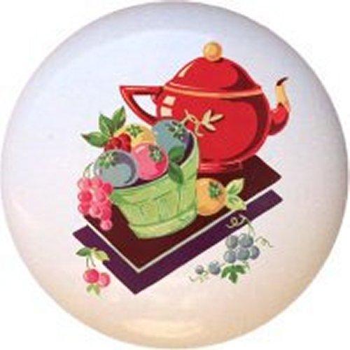 - Teapot and Fruit Basket Vintage-look Decorative Glossy Ceramic Drawer Knob