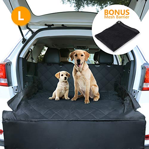 CCJK Pet Cargo Cover & Liner Dog, Waterproof Machine Washable & Nonslip Backing Free Pet Barrier Universal Fit Cars SUV Trucks,Underside Grip,Durable,Large Back Seat Cover Protector(Black,L)