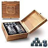 Whiskey Stones Gift Set - 8 Natural Granite Whisky Rocks To Chill Your Beverages and Drinks + 2 Whiskey Large Glasses in Handmade Wooden Box + eBook for FREE - Best Bar Accessories By Lord's Rocks
