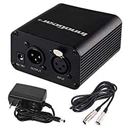 Innogear 1- Channel 48v Phantom Power Supply With 10 Feet Xlr Cable & Adapter For Any Condenser Microphone Music Recording Equipment