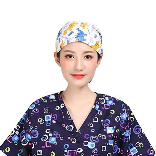 TENDYCOCO Scrub Caps Cotton Dinosaur Printed Adjustable Tie Surgery Hat for Unisex Doctor Nurse