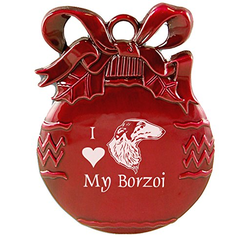 Pewter Christmas Tree Ornament-I love my Borzoi-Red