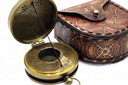 Mary Brass - ROSS LONDON Antique Brass The Mary Rose Thread Sundial Compass 1.5