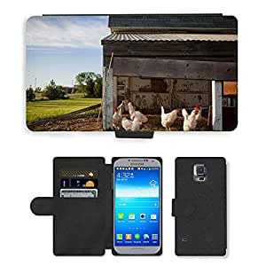Super Stella Cell Phone Card Slot PU Leather Wallet Case // M00148490 Chicken Coop Farm Chickens Coop // Samsung Galaxy S5 S V SV i9600 (Not Fits S5 ACTIVE)