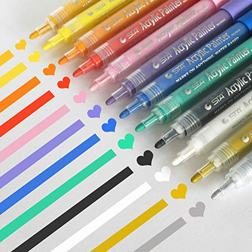 Acrylic Paint Markers Set - Permanent Paint Pens for Plastic, Glass, Ceramic, Wood, Cloth, Rubber, Rock and any surface. 12 Water based. Water resistent