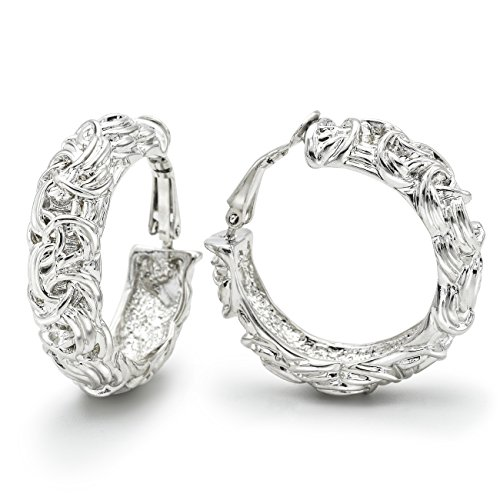 Byzantine Knot - Sparkly Bride Clip on Earrings Wide Hoop Byzantine Knot Fashion Ornate Rhodium Plated