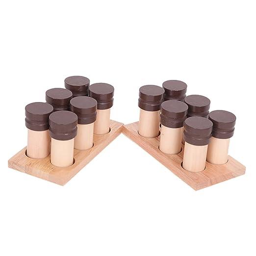 Juguetes de Montessori Madera Caja de Soporte Material Sensorial Fragancia con Olor Cilindro Botella: Amazon.es: Juguetes y juegos