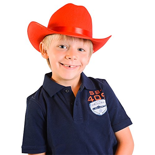 Red Child's Felt Cowboy Hat - Child's Country Red Cowboy Felt Costume Hat (Lone Cowboy Adult Costume)