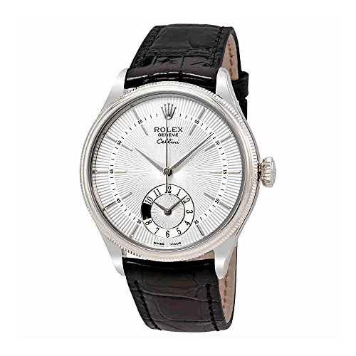 Rolex Cellini Dual Time Silver Dial 18K White Gold Mens Watch 50529SSBKL