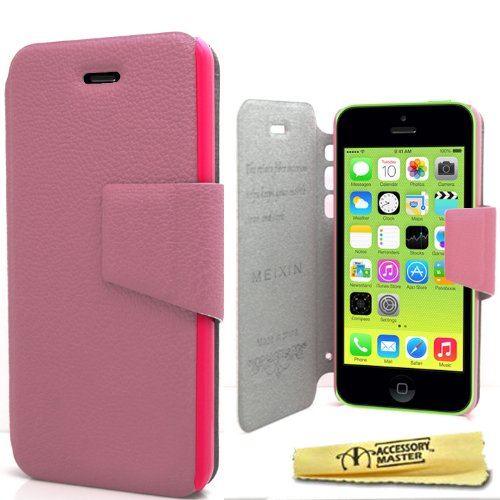 Accessory Master 5055716378535 Buch-Stil PU Flip Shell Ledertasche für Apple iPhone 5C Babyrosa