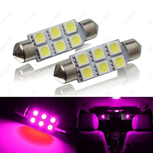SAWE - 44MM 6-SMD 5050 Festoon Dome Map Interior LED Light Bulbs Lamp For 6411 578 211-2 212-2 (2 pieces) (Pink/Purple)