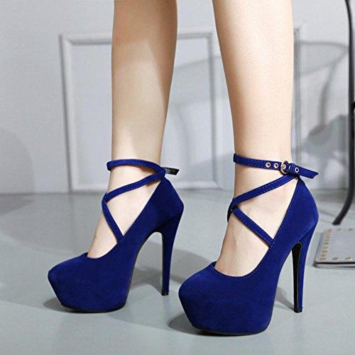 Sandales Chaussures à Simples Chaussures Mince Talons Femmes Bleu Été Printemps Décontracté Talons GreatestPAK Shallow Hauts ZC8qwY
