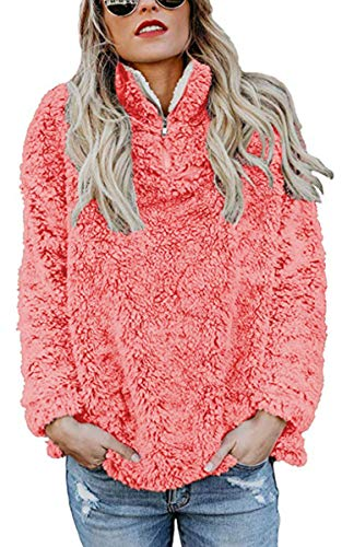Angashion Womens Sweatshirt - Long Sleeve 1/4 Zip Up Faux Fleece Pullover Hoodies Coat Tops Outwear with Pocket 174 Red