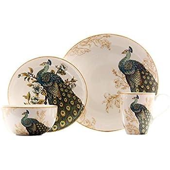 222 Fifth Serene Peacock 16 Piece Dinnerware Set