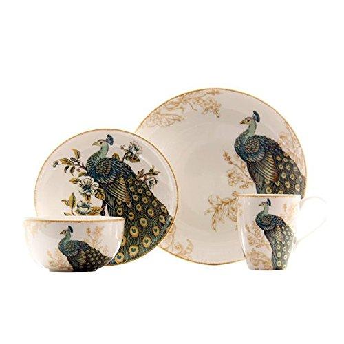 Serene Peacock 16 Piece Dinnerware Set ()