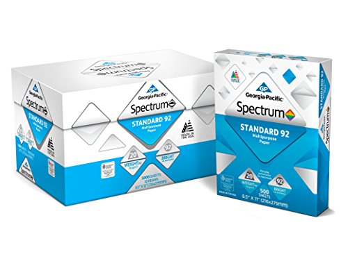 "Georgia Pacific 991322C Spectrum Standard 92 Multipurpose 8.5 x 11"" 1 box of 10 packs 5000 sheets"