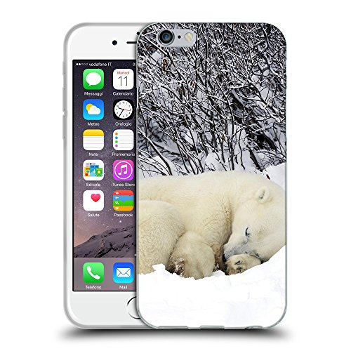 Just Phone Cases Coque de Protection TPU Silicone Case pour // V00004116 ours polaire dort dans la neige // Apple iPhone 6 4.7""