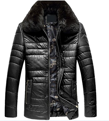 today-UK Men Winter Warm Pu Faux Fur Collar Quilted Down Jacket Coat Black