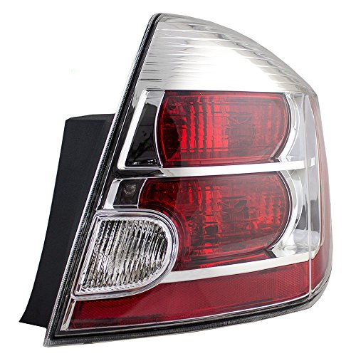 Passengers Taillight Tail Lamp with Chrome Bezel Replacement for 2007-2009 Nissan Sentra 26550ET00B AutoAndArt